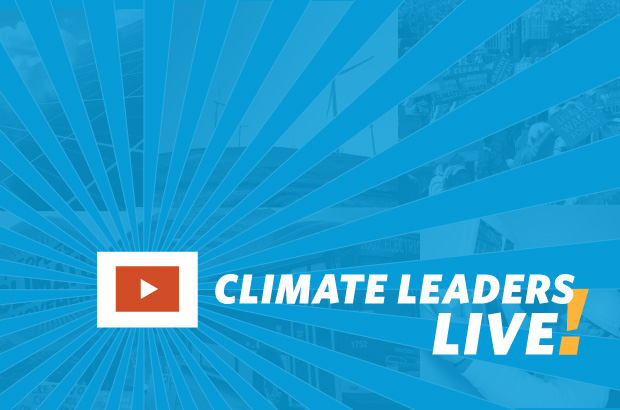 text: Climate Leaders Live! on blue background