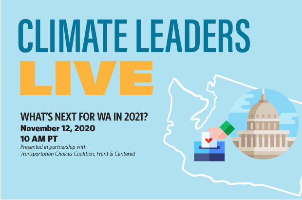 icons of wa capitol building and hand voting inside outline of washington state with text for climate leaders live