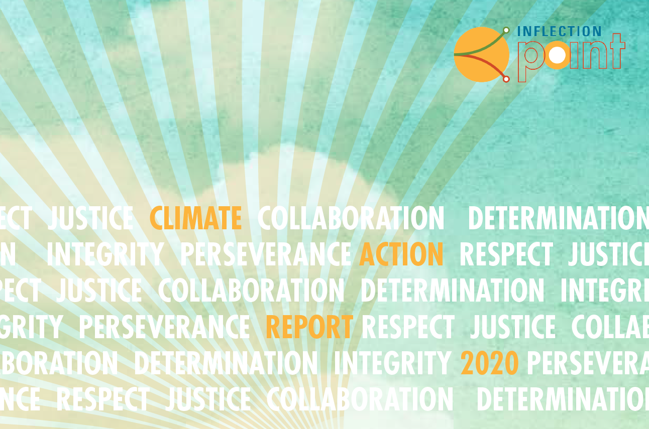 Climate Solutions Annual Report 2020 with orange sunrays and white script overlay