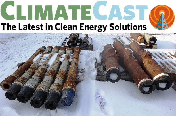 ClimateCast banner with photo of gas pipelines in the snow