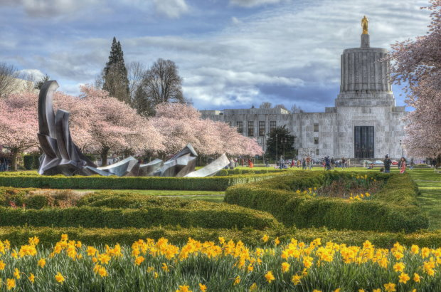 Stylized photo of Oregon State Capitol building