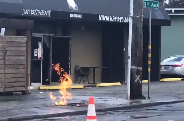 gas fire on street
