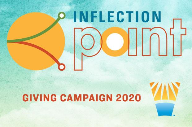 Inflection Point 2020 fundraising logo with orange circle and two lines bending in opposing directions