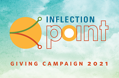 Inflection Point logo with orange circles on a blue sky