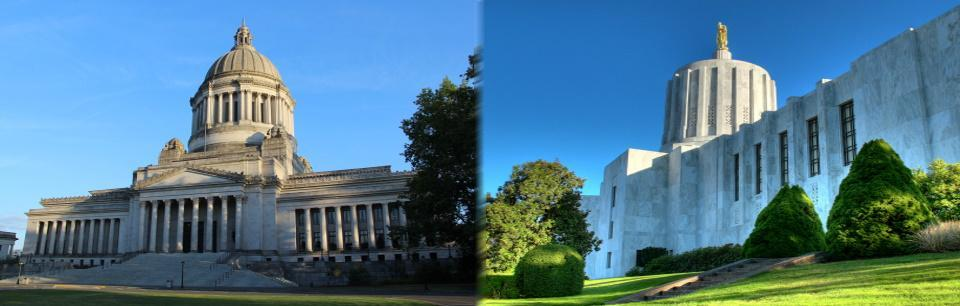Photos of Oregon and Washington state capitols, side by side