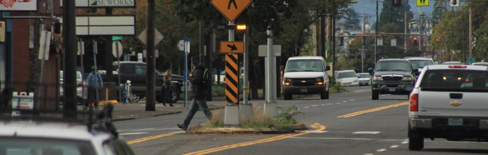 Portland crosswalk with traffic