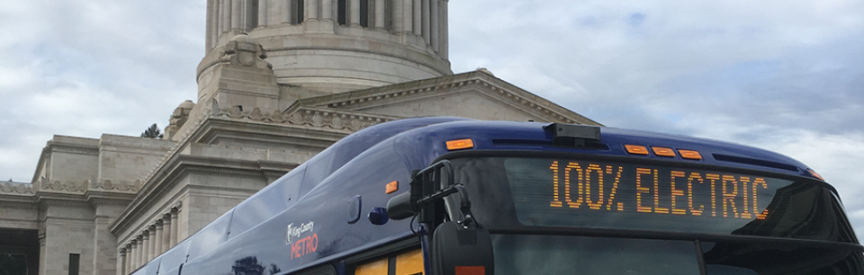 100 percent clean bus at the Washington State Capitol