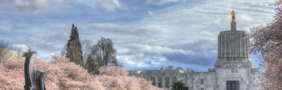 Stylized photo of the Oregon State Capitol building