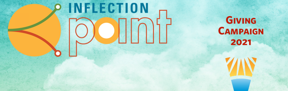 Inflection point logo with yellow circle on blue sky with white clouds.