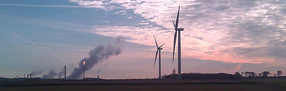 Gas plant, windmills banner