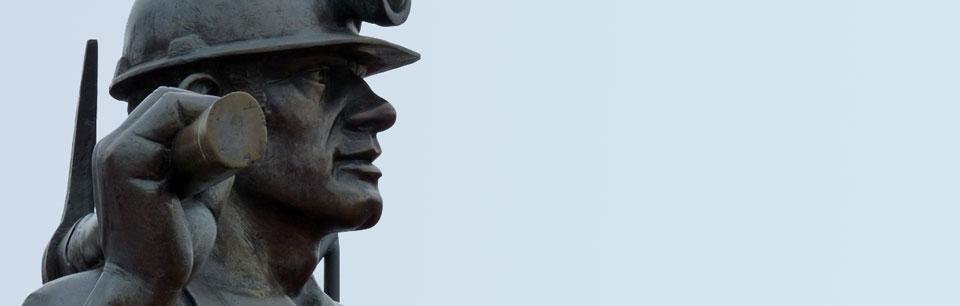 Coal miner statue banner