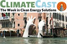 ClimateCast logo over Lorenzo Quinn's sculpture of hands reaching out of Venice lagoon