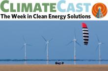 ClimateCast logo over image of kite buggy and wind turbines