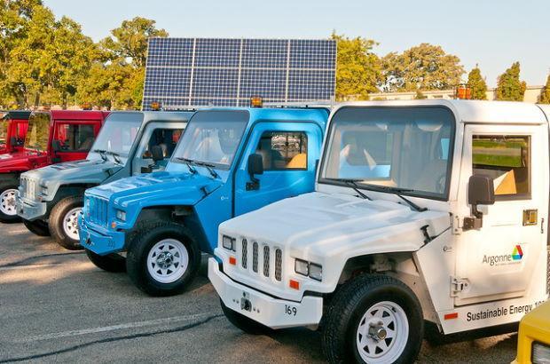 Photo of zero-emission electric trucks.
