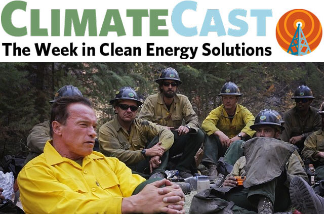 ClimateCast Logo over Schwarzenegger in Years of Living Dangerously