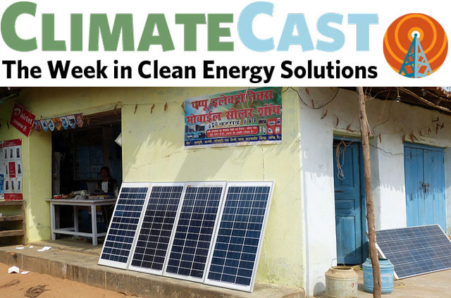 ClimateCast Logo over Indian solar panel