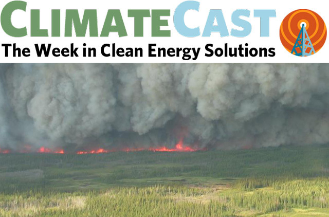 ClimateCast Logo over boreal fires