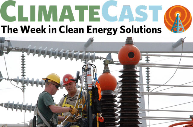 ClimateCast Logo over linemen working at substation