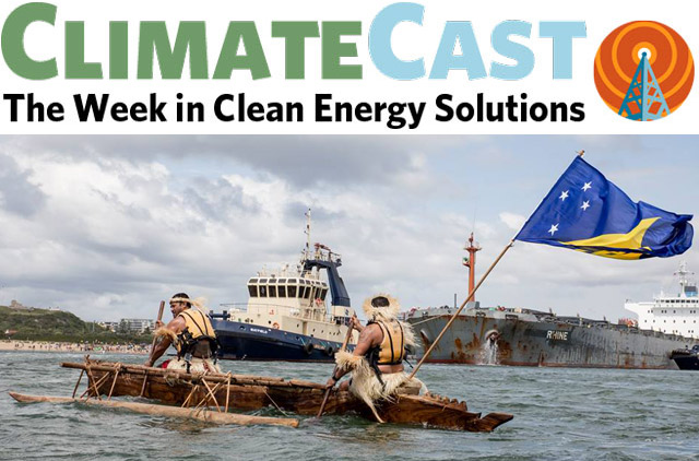 ClimateCast logo over canoe blockaders in Australian port