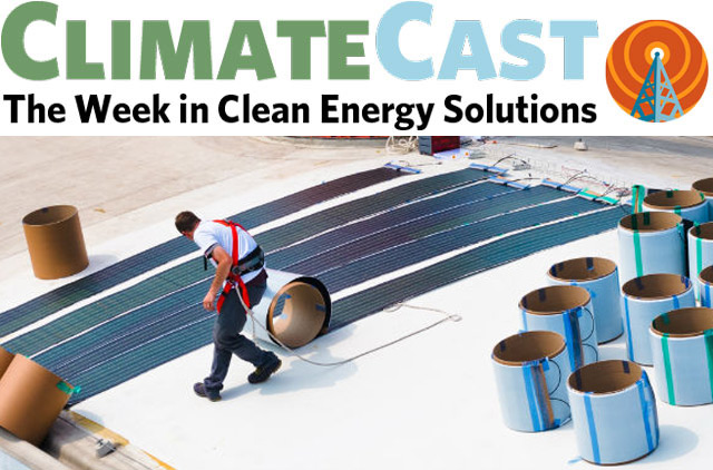 ClimateCast logo over man installing Solar Cloth panels