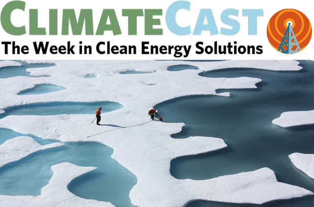 ClimateCast logo over sea ice and two researchers