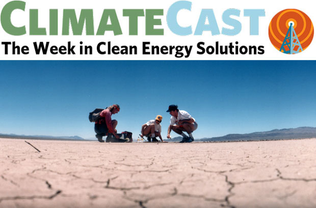 ClimateCast logo over scientists on dry California ground