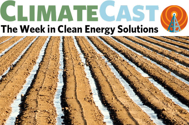 ClimateCast logo over flood-irrigated furrows