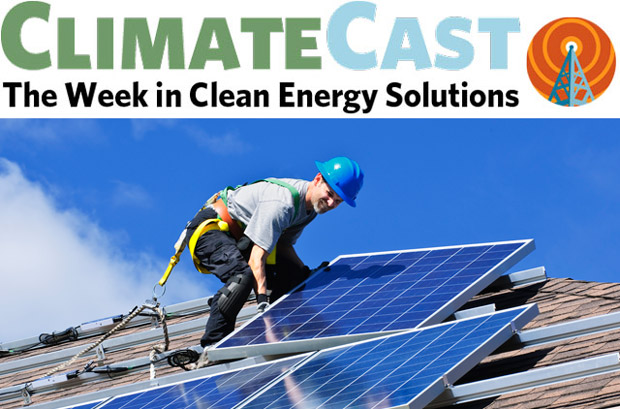 ClimateCast logo over photo of solar installer