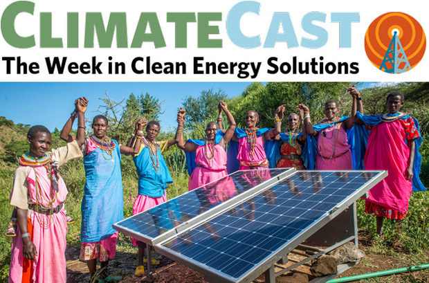 ClimateCast logo over Kenyan women and solar panel
