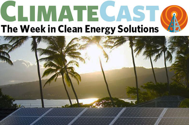 ClimateCast logo over palm trees and solar panels