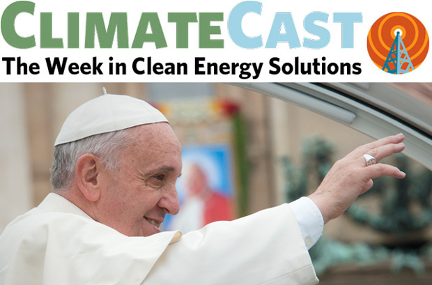 ClimateCast logo over Pope Francis