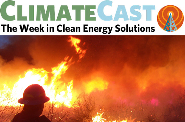 ClimateCast logo over firefighter silhouetted by flames