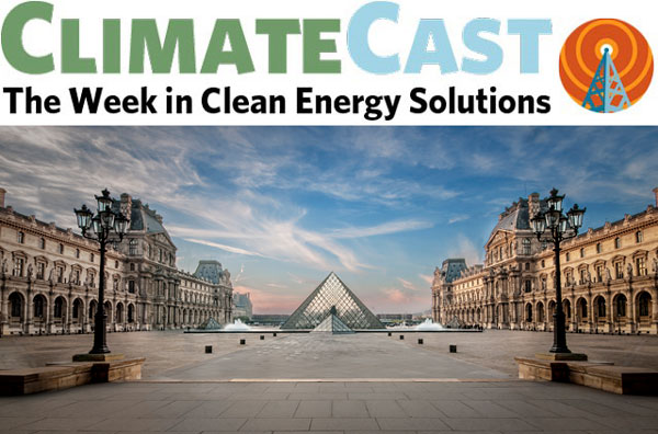 ClimateCast logo over Louvre pyramid and its plaza, Paris