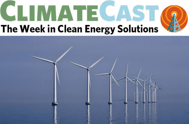 ClimateCast logo over offshore wind farm
