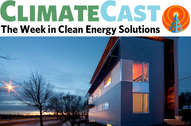 ClimateCast logo over passive house