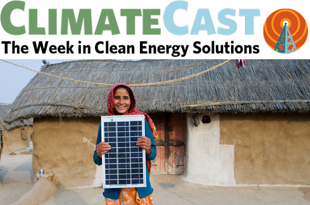 ClimateCast logo over Rajasthani villager with solar panel