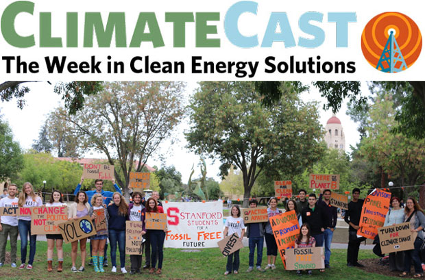 ClimateCast logo over photo of Stanford divestment demonstrators