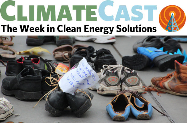 ClimateCast logo above photo of shoes in Paris protest art installation