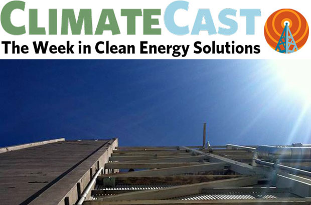 ClimateCast logo above sunburst and power plant superstructure