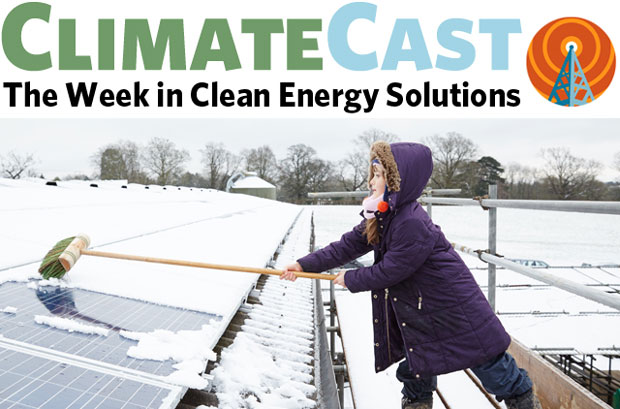 ClimateCast logo over girl brushing snow off PV panels