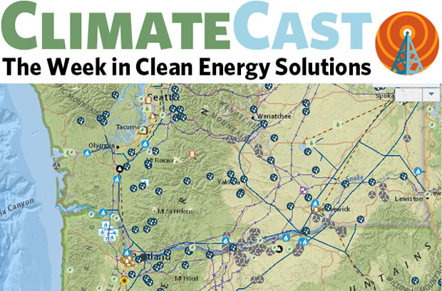 ClimateCast logo above map of energy infrastructure