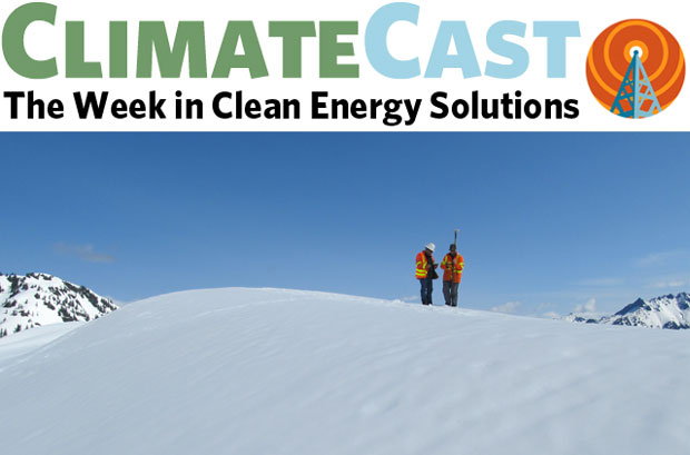 ClimateCast logo over technicians measuring snow depth