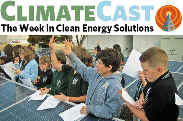 ClimateCast logo above kids and solar array