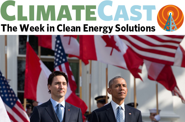 ClimateCast logo above President Obama and Prime Minister J. Trudeau