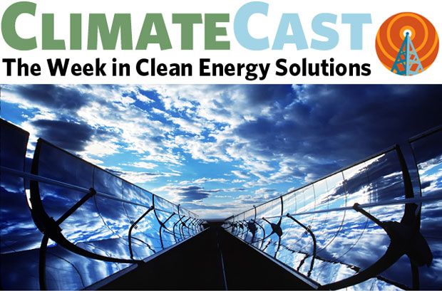 ClimateCast logo above photo of concentrating solar collectors