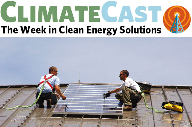 ClimateCast logo above workers installing PVs