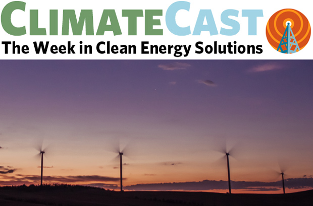 ClimateCast logo over silhouetted windfarm