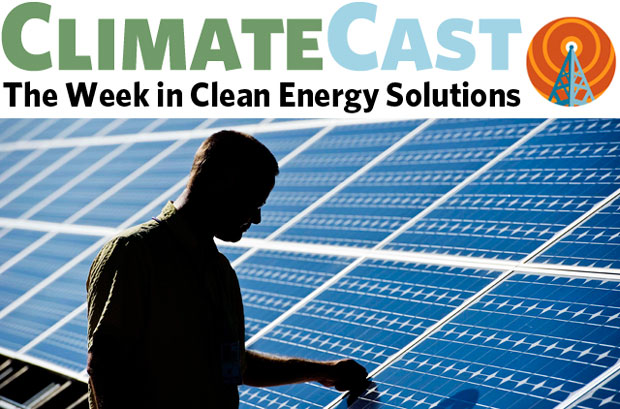 ClimateCast logo above silhouette of man in front of solar panels