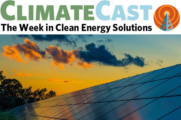 ClimateCast logo above sunset clouds and PV panels