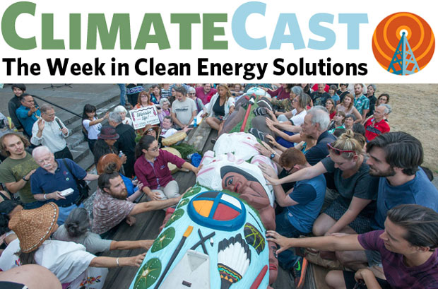 ClimateCast logo over blessing of Lummi totem pole